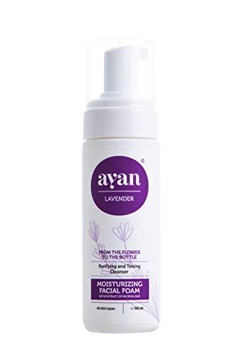 AYAN Naturkosmetik Reinigungsschaum mit Mikroalgen, Rosenwasser und Aloe Vera 150 ml - für milde und pflegende Gesichtsreinigung