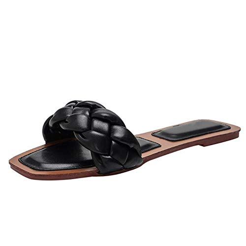 Sandały Slajdy Dla Kobiet, Tkane Klapki Damskie Wsuwane Buty (Color : Black, Size : 38)
