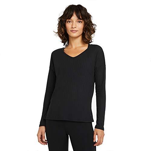 NIKE W NY Pointelle L/S Top Abrigo de Vestir, Black/Dk Smoke Grey, XS para Mujer