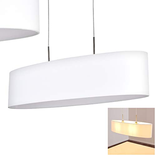 Pendelleuchte Arwangen, Hängelampe aus Metall in Nickel-matt m. Leuchtenschirm aus Stoff in Weiß, 2-flammig, 2 x E27 max. 40 Watt, Höhe max. 124 cm, Hängeleuchte für LED Leuchtmittel geeignet
