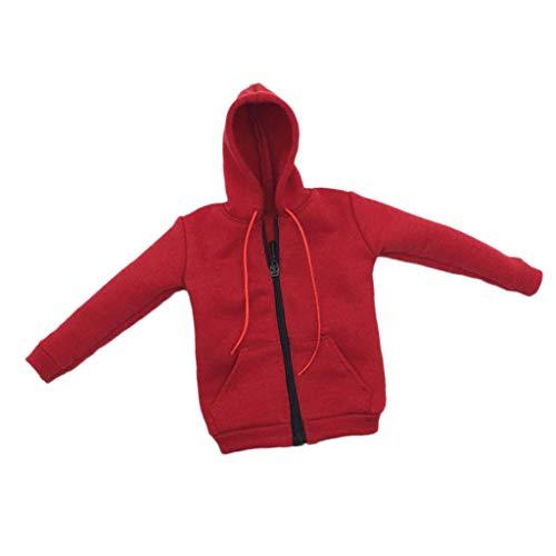 Bonarty 1/6 Skala Männliche Kleidung Hoodie Kleidung Sportkleidung Für 12 ''Action Figure Toys Doll - rot