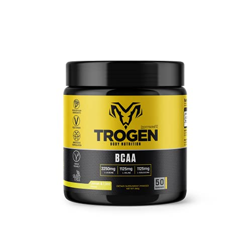 Trogen - BCAA 2:1:1 Amino Acids Powder - Increased Energy Levels, Muscle Support & Growth - Lemon & Lime Flavour - 250g