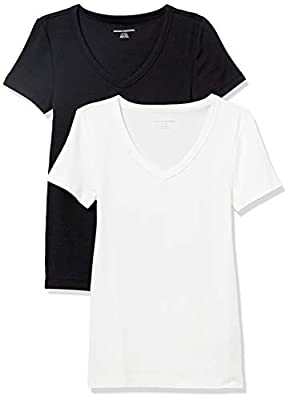 Amazon Essentials Women's 2-Pack Slim-Fit Short-Sleeve V-Neck T-Shirt, Black/White, Medium