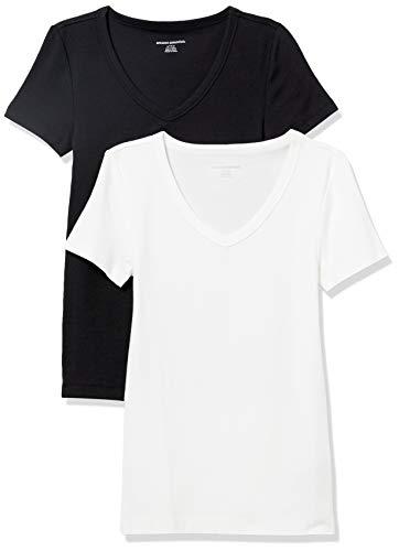 Amazon Essentials Damen fashion-t-shirts 2-pack Slim-fit Short-sleeve V-neck T-shirt, schwarz / weiß, X-Large (44-46)