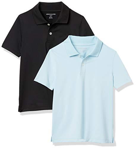 Amazon Essentials Jungen Active Performance polo-shirts, 2er Pack, mehrfarbig (Hellblau / Schwarz), X-Large