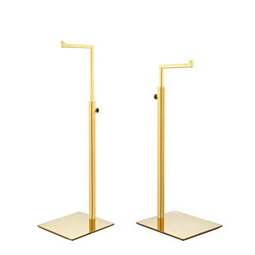 2 Pack Polished Gold Hanging Bag Handbag Rack Display Stand, Retail Countertop Single Hook Adjustable Height Purses Display Stand Rack by YIFU DISPLAY