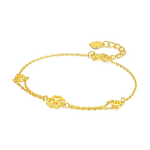 Pulsera Fabricada En Oro Amarillo De 24k Longitud Ajustable De La Cadena De 16 Cm