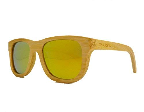 Okulars® Natural Bamboo - Gafas de Sol de Madera para Hombre & Mujer, Hecho a Mano - Talla única - Polarizadas Espejo Lentes - Protección UV400 - Cat.3 (Amarillo)