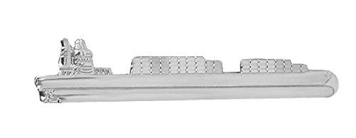 Unbekannt Container Schiff Krawattennadel Krawattenklammer silbern glänzend m.i. Germany + Silberbox maritimes Accessoire Herren