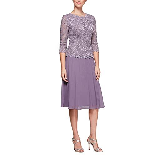 Alex Evenings Women's Tea Length Sequin Mock Dress (Petite and Regular), ICY Orchid, 12