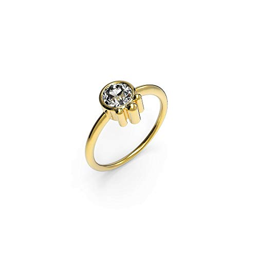 prettique Damen Ring aus 925 Sterlingsilber/Vergoldet (18 Karat) mit rundem Zirkonia Stein (farblos) – Goldring– Größe 52-54-56-58-60 – Durchmesser 0,5 Zentimeter - Geschenk