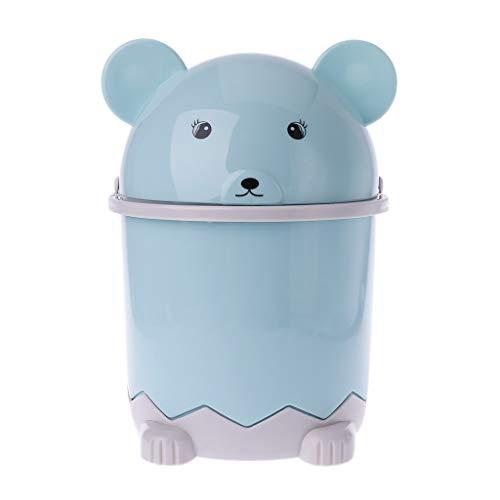 Milue Mini-Bär-Mülleimer, für den Schreibtisch, Mülltonne, mit Schwingdeckel, 1,5 l blau