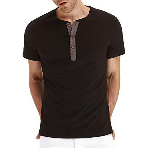 Nuevas Camisetas De Verano para Hombre, Camisetas SóLidas De Manga Corta, Camiseta Informal con Botones A La Moda para Ropa Masculina
