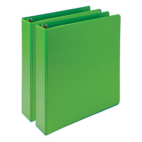 Samsill Earth's Choice, Durable Fashion Color 3 Ring View Binder, 1.5 Inch Round Ring, Up to 25% Plant Based Plastic, Eco-Friendly, USDA Certified Biobased, Lime Green, Value 2 Pack, Model: MP286578