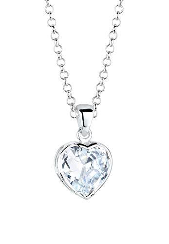 Elli Halskette Damen Herz Anhänger Liebe Symbol edel mit Zirkonia Kristall in 925 Sterling Silber