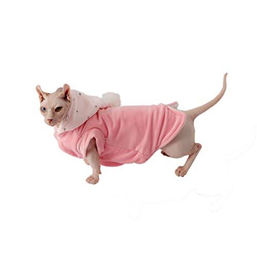 Khemn Katzen-Mantel mit Fellbällchen, doppelter Dicker Baumwolle, ideal für haarlose Katzen, Rosa und Blau