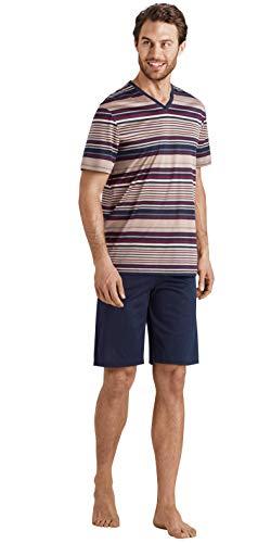 Hanro Herren Darian Short Sleeve Pajama Pyjama Set, Bordeaux gestreift, Medium