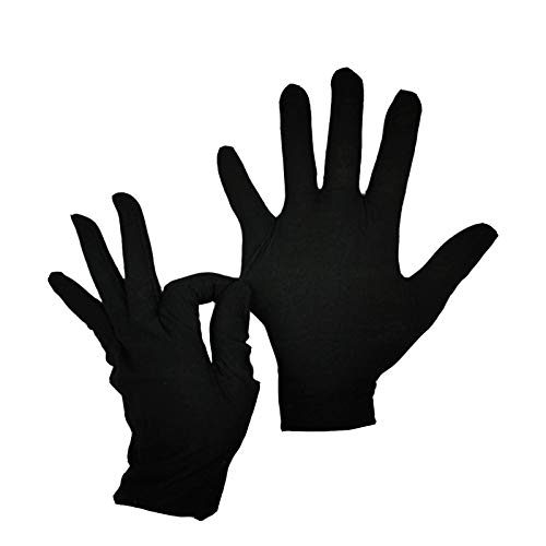 Simida Black Gloves 12 Pairs Work Gloves for Big Kid Cotton Gloves for Dry Hands Drawing Glove Liners Jewelry Coin Silver Inspection Gloves(Small)