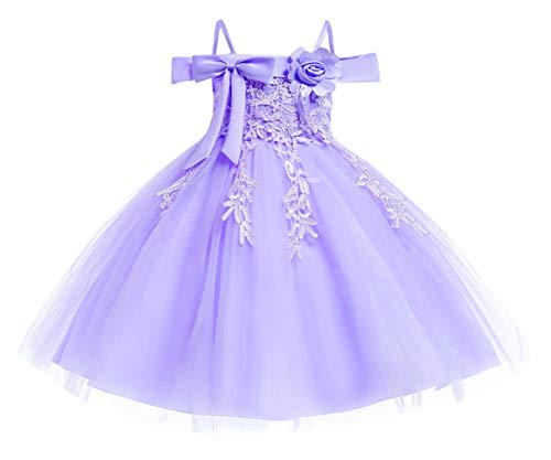 DEMU baby meisjesjurk doopjurk feestelijke jurk bruiloft partyjurk feestjurk 130 paars