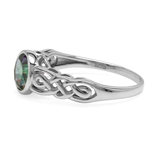 Silvershake 1.66ct. Mystic Fire Topaz White Gold Plated 925 Sterling Silver Celtic Knot Solitaire Ring Size 5.5