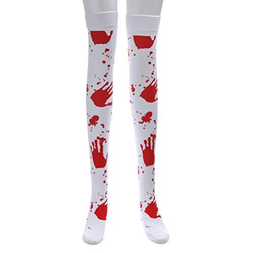 Amosfun Halloween Lange Socken Blutige Strümpfe Horror Blutige Krankenschwester Ausgefallene Strümpfe Maskerade Party Favors (Weiß)