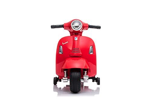 Babycar Moto Elettrica per Bambini Piaggio Mini Vespa ( Rosso ) 6 Volt con luci e Suoni Ufficiale con Licenza