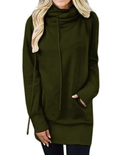 Kidsform Hoodie Damen Sweatshirt Kapuzenpullover Pulli Kleid Pullover Herbst Sweatjacke mit Tasche 4-Armeegrün M