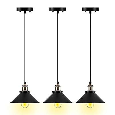 Pendant Lighting for Kitchen Island,3-Pack Pendant Lights,Bronze Pendant Light Fixtures E26 Base,Hanging Lamp Simplicity Bronze and Black Finish Fixture