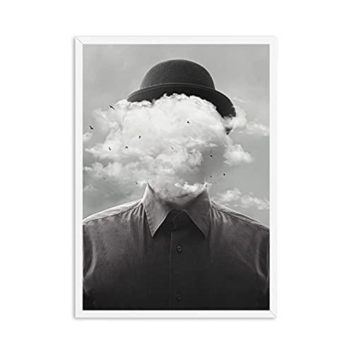 YYAYA.DS Lona Pared Arte Hombre de Concepto Surrealista con impresión de pájaro en la Nube Póster en Blanco y Negro Cuadros de Pared Decoración de salón para el hogar 60x90cm