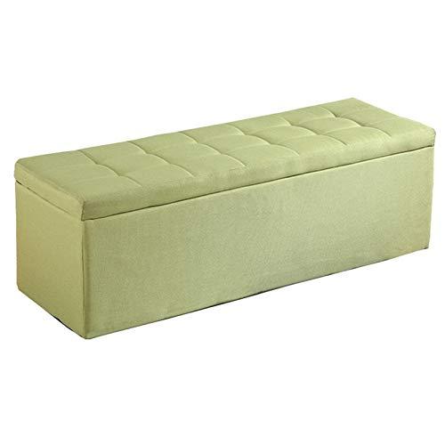 WHOJA Plegable Ottoman Taburete de Tela for sofá Cubierta con bisagras Caja de Almacenamiento Multifuncional Cambiar Banco de Zapatos Marco de Madera Maciza 100x40x40cm Otomanos (Color : Green)