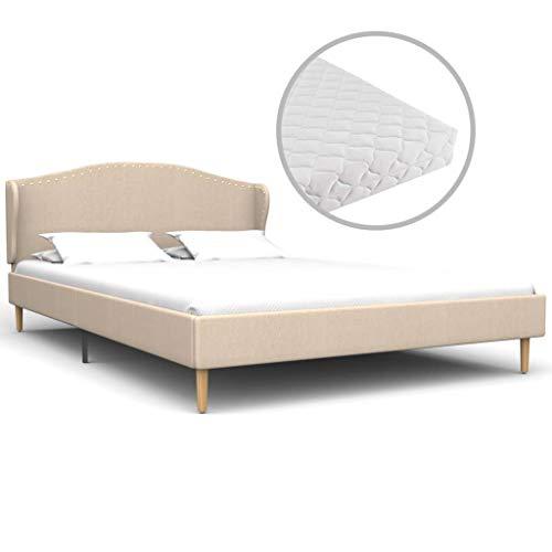 vidaXL Bed met Matras Stof Beige 120x200 cm Bedframe Twijfelaar Ledikant