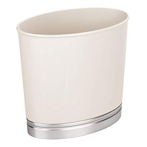 mDesign Mülleimer für Bad und WC – ovaler Papierkorb mit elegantem Look – Design Abfalleimer aus widerstandsfähigem Kunststoff mit gebürstetem Finish – cremefarben und silberfarben
