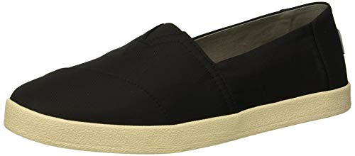 TOMS Women's Avalon Loafer Flat, black textured nylon, 10 Medium US