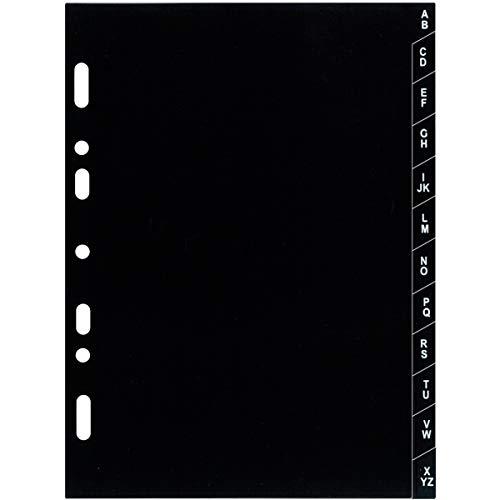 Exacompta - 18223E - Accessoire de recharge perforée - Intercalaire Alphabétique de A à Z - Plastique - Accessoire pour Organiseur Exatime 17 - 12 Feuillets - Coloris Noir