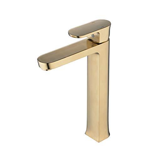 Cuarto de baño alto grifo de una sola manija moderna cepillado oro encimera grifo 1 agujero montaje lavabo grifo latón Leekayer