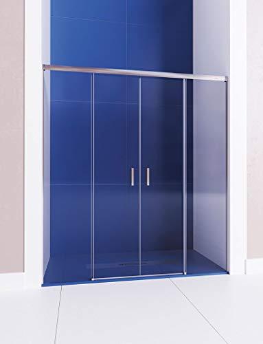 Mampara de ducha frontal de 2 hojas fijas y 2 puertas correderas - Cristal 6 mm con ANTICAL INCLUIDO - Modelo GALAXIA (151-160 cm)