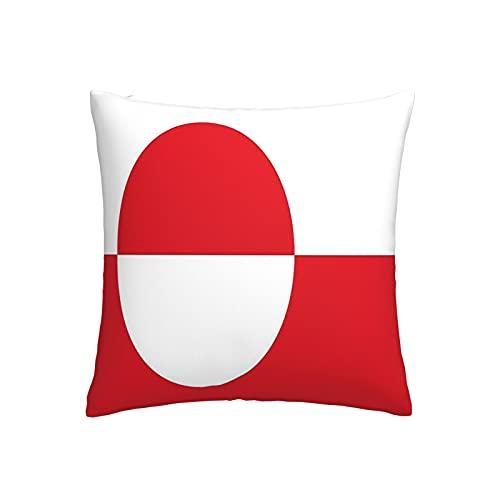 Kissenbezug, Motiv: Flagge von Grönland, quadratisch, dekorativer Kissenbezug für Sofa, Couch, Zuhause, Schlafzimmer, für drinnen & draußen, 45,7 x 45,7 cm