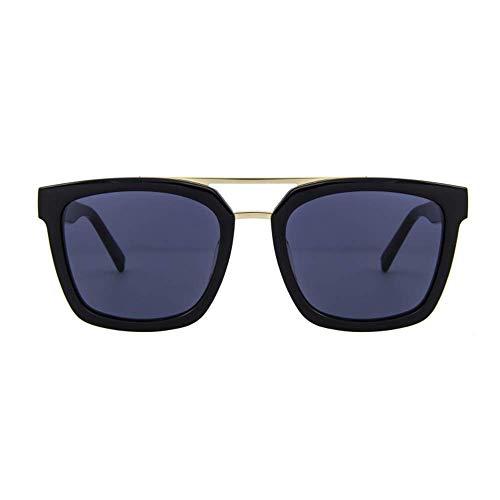 WMYATING Gafas de sol, ojos, a prueba de luz y a prueba de tormentas de arena, gafas de sol Placa de los Hombres Retro HD Polarizadas Gafas de sol Negro Grueso Borde Azul Lente 400 Protección