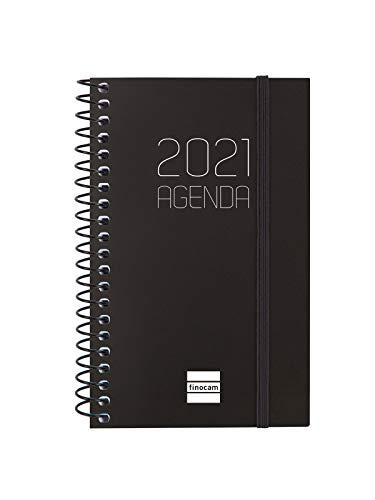 Finocam - Agenda 2021, Semana Vista Apaisada, Español, Espiral Opaque, Negro, Mini - E3 - 79 x 127 mm