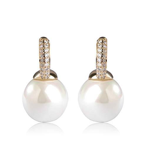 N/N Aretes Mujer Pendientes De Botón De Cobre para Mujer Pendiente De Perlas De Imitación De Circón Cúbico Joyas De Oreja De Color Dorado