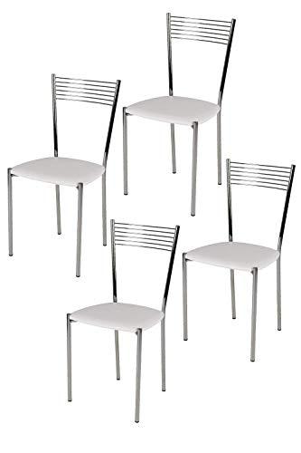 Tommychairs Set 4 sedie Moderne e di Design Elegance per Cucina Bar salotti e Sala da Pranzo, con Robusta Struttura in Acciaio Cromato e Seduta Imbottita e Rivestita in Ecopelle Colore Bianco