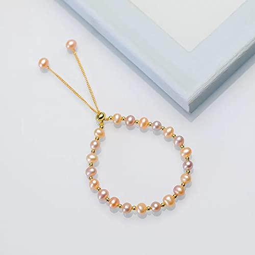 Joyería de pulsera artesanal de perlas de agua dulce naturna para mujer, regalo de abalorio de cumpleaños / fiesta multicolor colorido a la moda Pulsera de la amistad regalo de cumpleaños