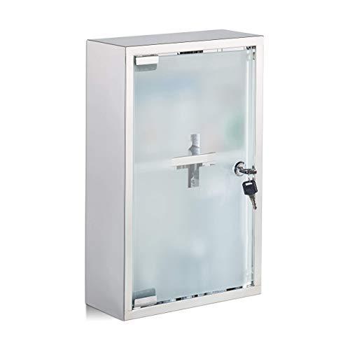 Relaxdays medicijnkastje, roestvrij staal, glazen deur, 2 vakken, afsluitbaar, medicijnkast, glanzend, HBT: 40 x 25 x 11 cm, zilver