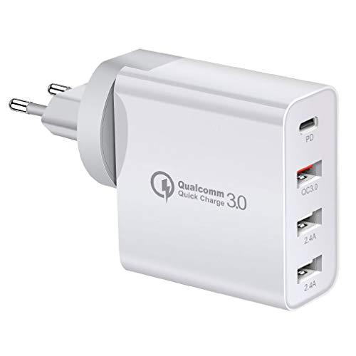 Vokmon 48W Cargador de teléfono USB Tipo C PD 4 Puertos de Carga rápida Adaptador de Viaje Cargador portátil, Blanco, Enchufe de la UE
