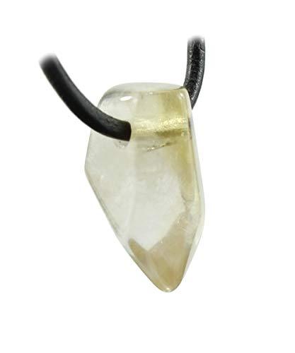 budawi® - echter Citrin Trommelstein Anhänger facettiert mit Lederband, Natur-Citrin
