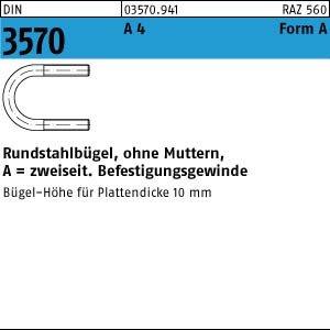 1 Rundstahlbügel DIN 3570 A4 A 82 / NW 65 M12 V4A Niro Edelstahl
