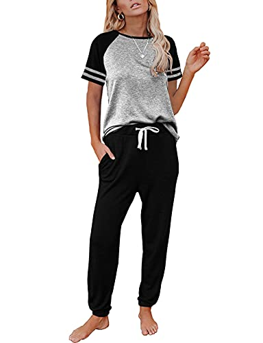 AUTOMET Lounge Sets For Women Two Piece Outfits Loungewear Short Sleeve Crewneck Jogger Pajama Set and Sweatpants Tracksuit