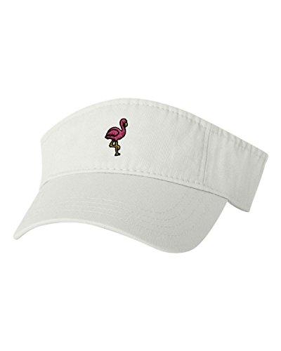 Adjustable White Adult Flamingo Embroidered Visor Dad Hat