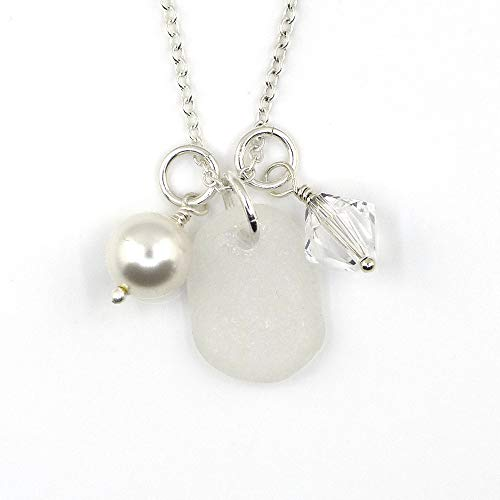 Sea Glass, Swarovski Crystal Birthstone, Swarovski Crystal Pearl Necklace