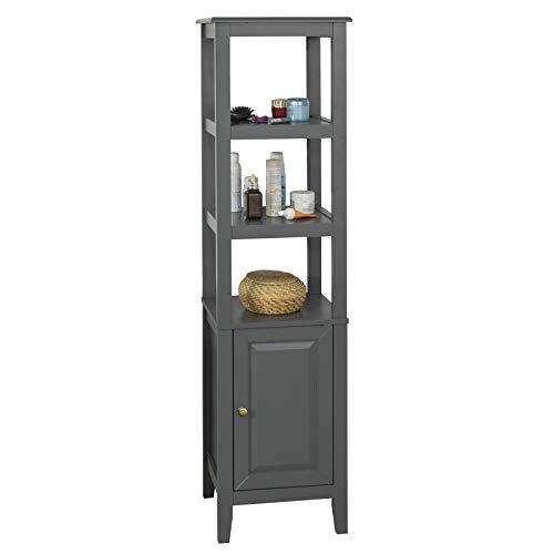 SoBuy FRG205-DG, Mueble Columna de baño, Armario para baño,estanterías de baño- 3 estantes y 1 Puerta,ES (Gris)